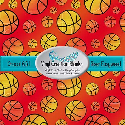 Ombre Basketball Pattern Permanent Outdoor Vinyl or Heat Transfer Iron On Vinyl for All Vinyl Cutters
