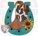 Cow Pattern Boots with Horseshoe and Sunflowers Heat(Iron On) Transfer or Sublimation Transfer
