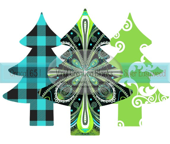 Turquoise and Lime Trio Patterned Christmas Tree Collage Transfer