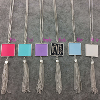 Square Pendant Tassel Necklace