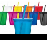 Double Wall Acrylic Straw Cups 16 oz