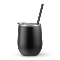 Matte Black 12 oz Double Wall Steel Wine Tumbler