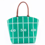 Football Field Tote with Tan Straps