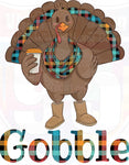 Gobble Plaid Turkey Heat(Iron On) Transfer or Sublimation Transfer