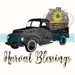 Harvest Blessings Black Truck with Pumpkin Sublimation Transfer
