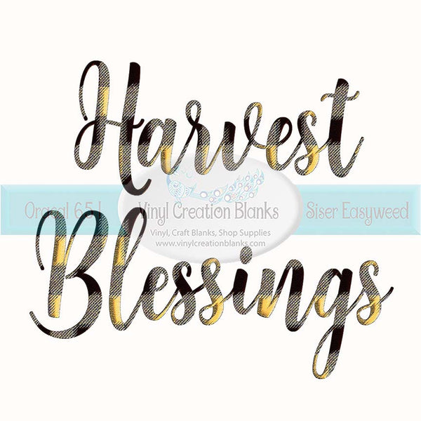 Plaid Harvest Blessings Sublimation Transfer