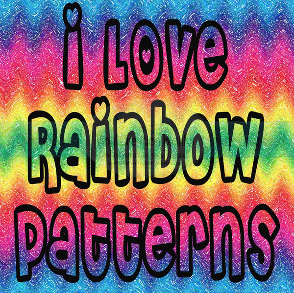 I Love Rainbow Patterns Printed Vinyl