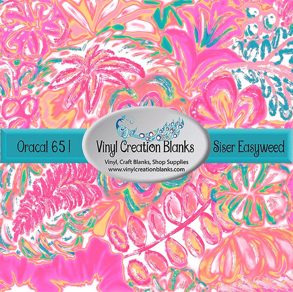 Flowers at Sunset Pattern Self Adhesive Vinyl or Heat Transfer Vinyl