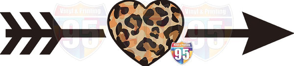 Leopard Heart with Arrow HTV or Sublimation Transfer