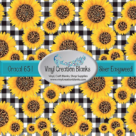 Leopard Sunflower Buffalo Plaid Pattern Craft Vinyl for Vinyl Cutters