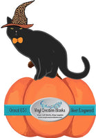 Leopard Witch Cat on Pumpkin HTV or Sublimation Transfer