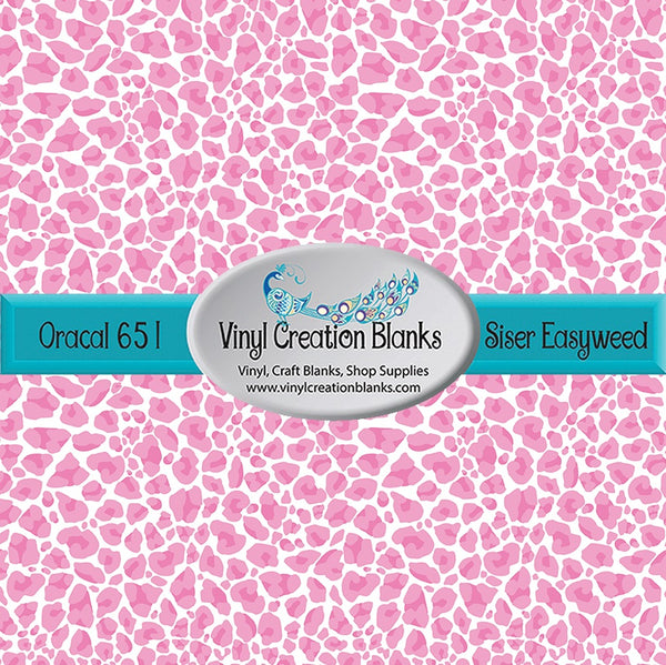 Pink Leopard Pattern Vinyl for All Vinyl Cutters, Adhesive Vinyl or Heat Transfer Vinyl