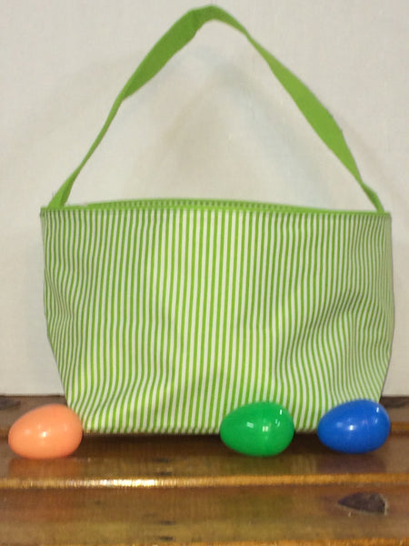 Green Pin Stripe Easter Bucket Tote