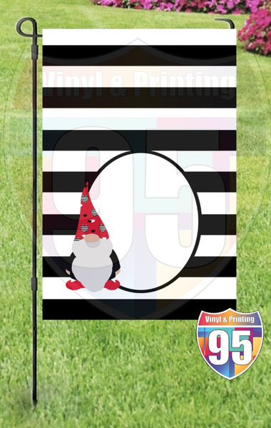 Loverboy Gnome on Black Stripes Garden Flag