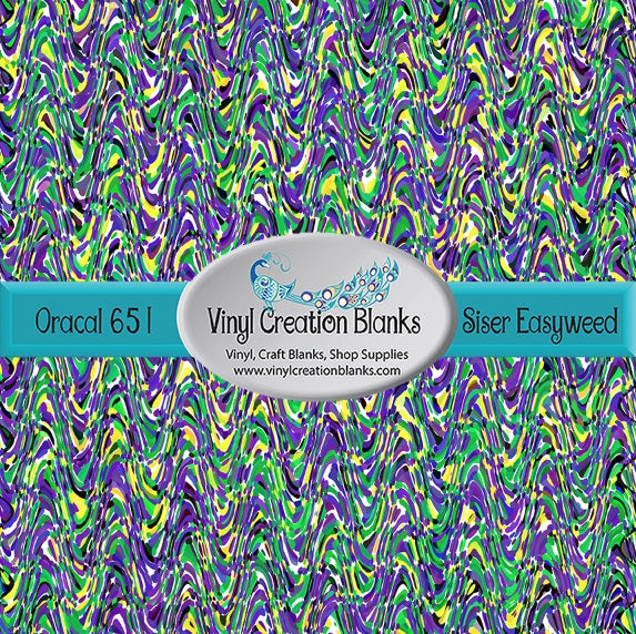 Mardi Gras Streamers Print Pattern Outdoor Vinyl or HTV