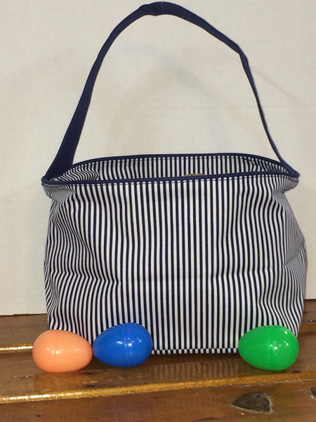 Navy Pin Stripe Easter Bucket Tote