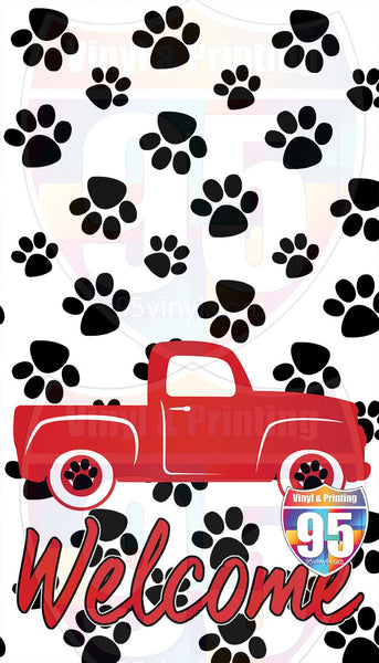 Paws and Red Truck Welcome Garden Flag