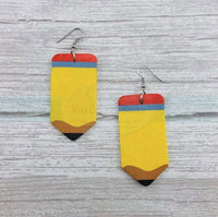 Pre-Order Faux Leather Pencil Pattern Tear Drop Earrings