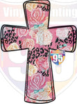Pink Floral Leopard Cross Heat Transfer Vinyl (Iron On) or Sublimation Transfer