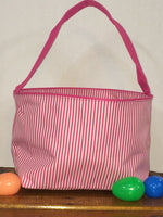 Pink Pin Stripe Easter Bucket Tote