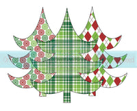 Plaid, Argyle, and Circle Patterned Christmas Tree Collage Transfer
