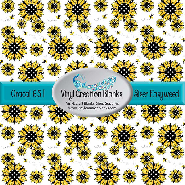 Polka Dot Sunflowers and Bees Pattern Permanent Outdoor Vinyl or Heat Transfer Iron On Vinyl for All Vinyl Cutters