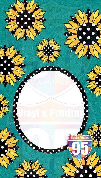 Polka Sunflowers on Teal Garden Flag