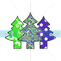 Purple Paisley, Damask, and Polka Dot Patterned Christmas Tree Collage Transfer