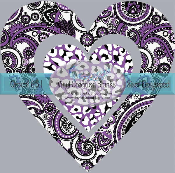 Purple Paisley and Leopard HTV or Sublimation Transfer