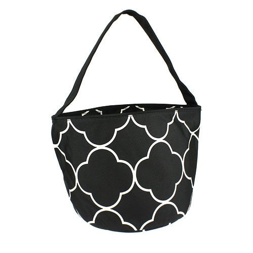 Black Quatrefoil Easter Bucket Tote