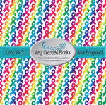Rainbow Awareness Ribbon Pattern Printed Self Adhesive Vinyl and Heat Transfer Vinyl