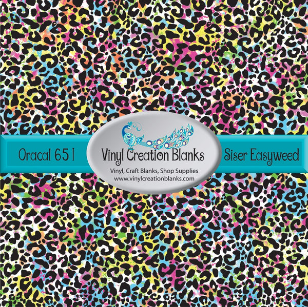 Rainbow Watercolor Leopard Patterned Permanent Vinyl or HTV for all Vinyl Cutters