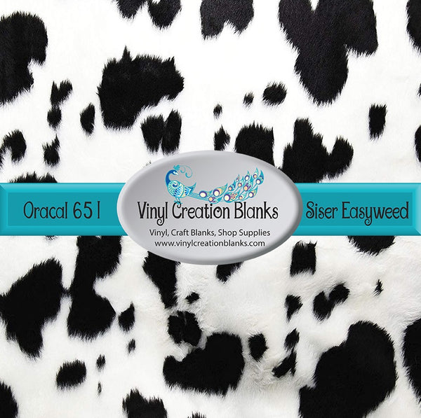 Realistic Black Cow Patterned Permanent Vinyl or HTV for all Vinyl Cutters