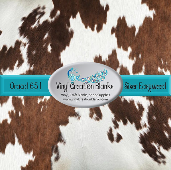 Realistic Brown Cow Patterned Permanent Vinyl or HTV for all Vinyl Cutters