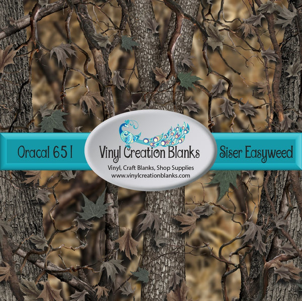 4' Roll of Real Life Woods Camo Pattern Printed Self Adhesive Vinyl and Heat Transfer Vinyl