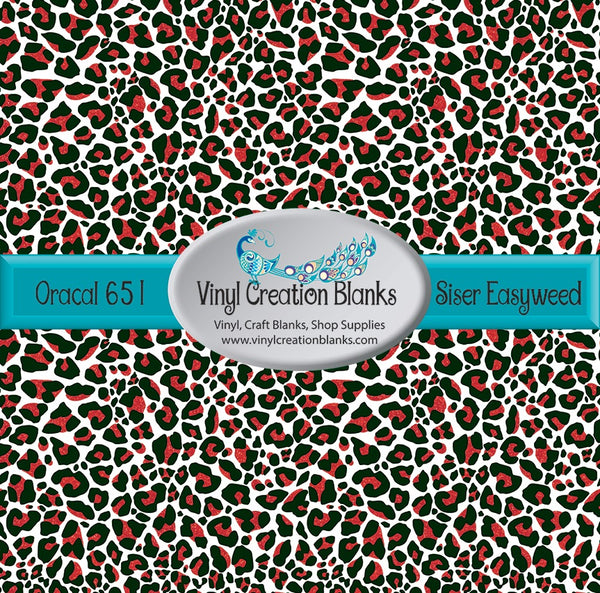 Red Faux Glitter Leopard Patterned Permanent Vinyl or HTV for all Vinyl Cutters