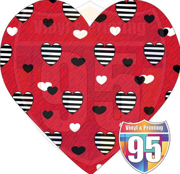 Red Heart with Striped Hearts Heat(Iron On) Transfer or Sublimation Transfer