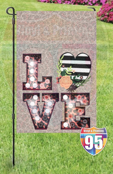 Leopard Marquee LOVE with Stripe Heart Garden Flag
