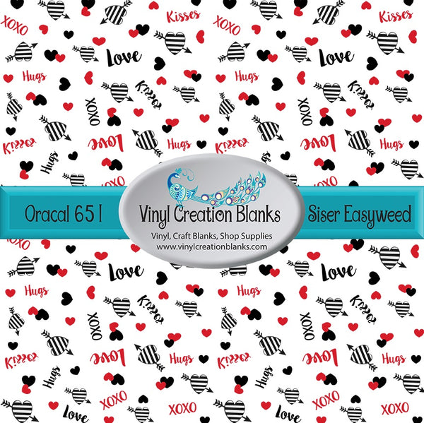 XOXO Striped Hearts Patterned Permanent Vinyl or HTV for all Vinyl Cutters