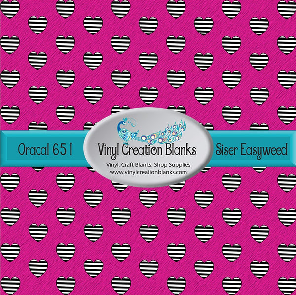 Black and White Striped Hearts on Pink Patterned Permanent Vinyl or HTV for all Vinyl Cutters