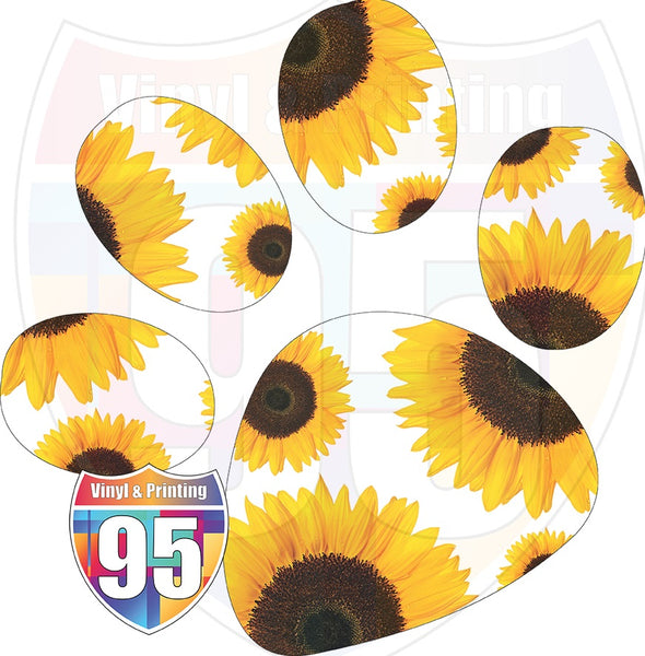 Sunflower on White Paw Print Heat(Iron On) Transfer or Sublimation Transfer