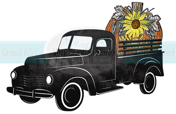 Sunflower Pumpkin Black Truck HTV or Sublimation Transfer
