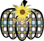 Sunflowers on Black Buffalo Plaid Pumpkin HTV or Sublimation Transfer