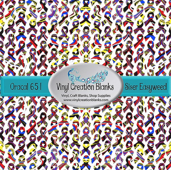 Superhero Swirl Awareness Ribbon Pattern Printed Self Adhesive Vinyl and Heat Transfer Vinyl