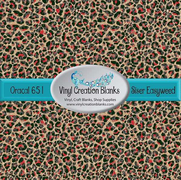 Swanky Red Leopard Patterned Permanent Vinyl or HTV for all Vinyl Cutters