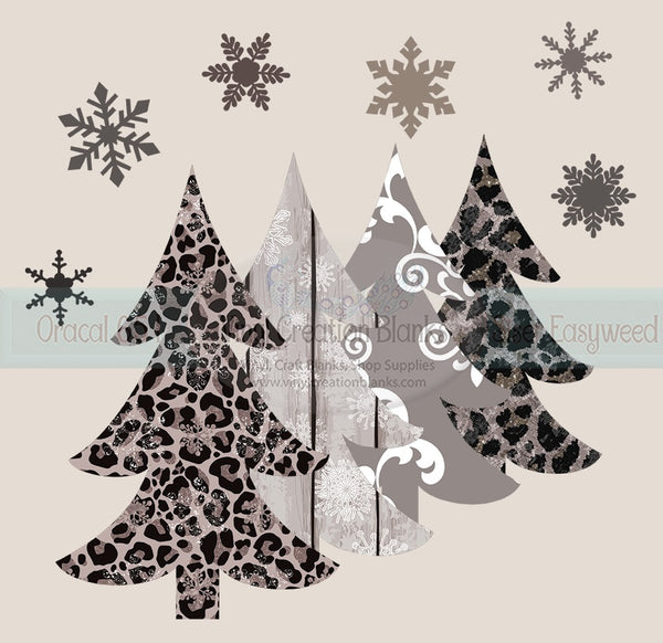 Taupe Leopard Snowy Tree Scene Heat(Iron On) Transfer or Sublimation Transfer