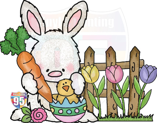 Tulip Bunny Heat(Iron On) Transfer or Sublimation Transfer