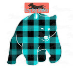 Turquoise Buffalo Plaid Bear Digital File