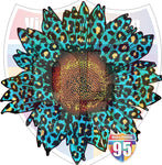Turquoise Leopard Sunflower Heat(Iron On) Transfer or Sublimation Transfer