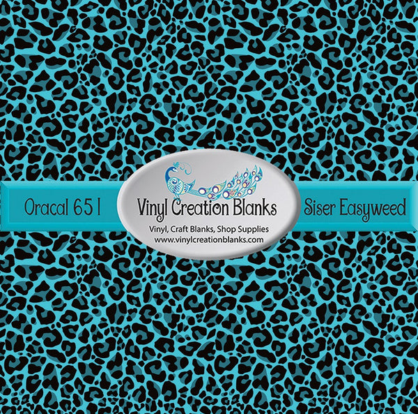 Turquoise Leopard Print Pattern Outdoor Vinyl or Heat Transfer Vinyl for All Vinyl Cutters